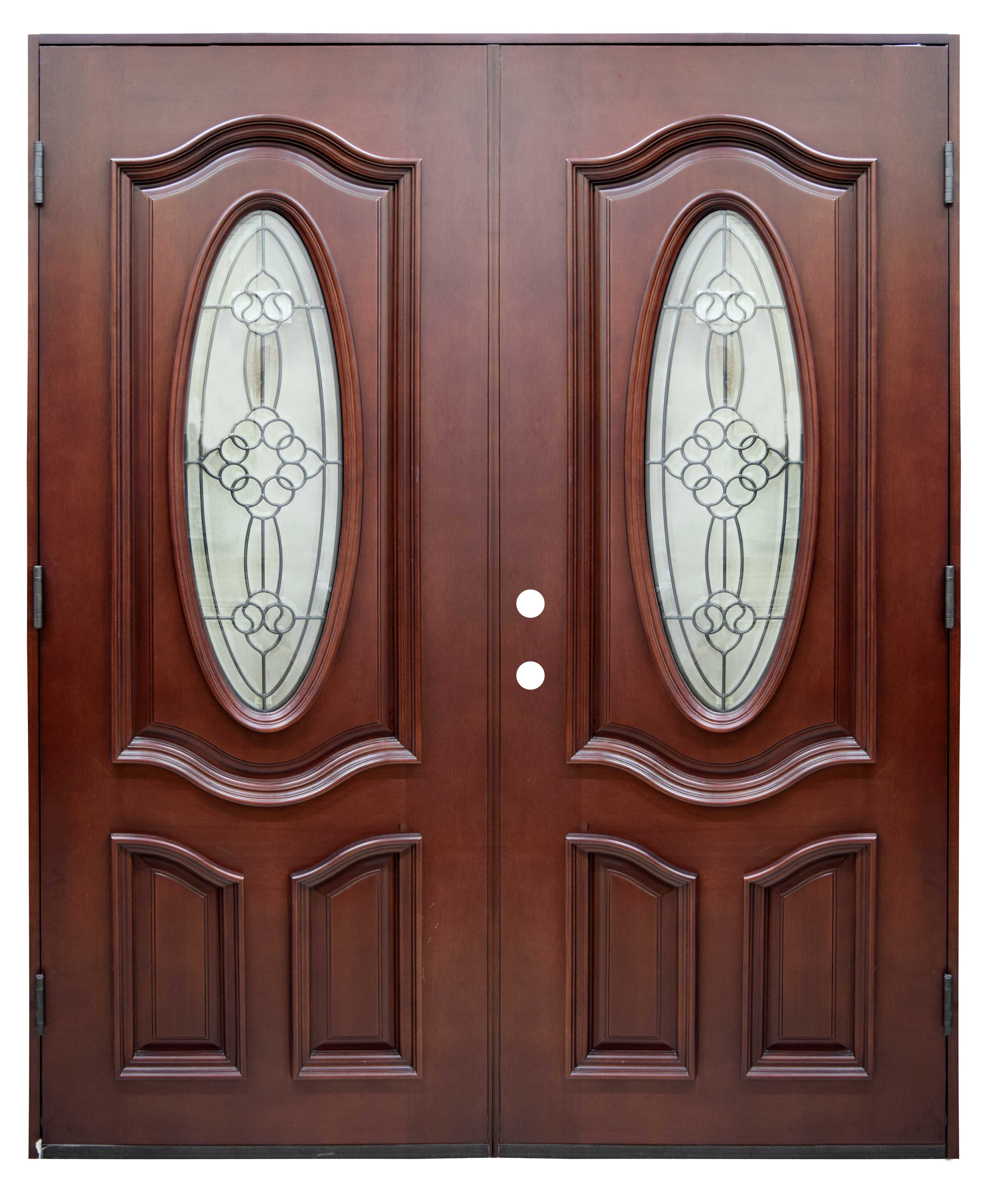 Double Entry Brown Security Door With Glass The Roopnarine