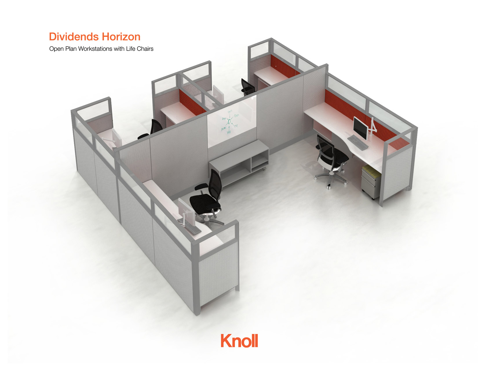 knoll life chairs. Knoll Furniture - Dividends Horizon Open Plan Workstations With Life Chairs N
