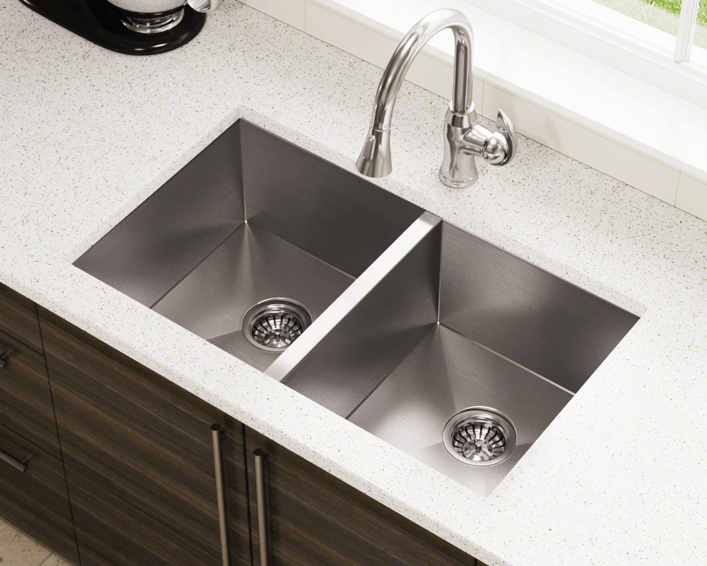 Mr Direct Stainless Steel Double Equal Rectangular Kitchen Sink Project 3322d Bath And