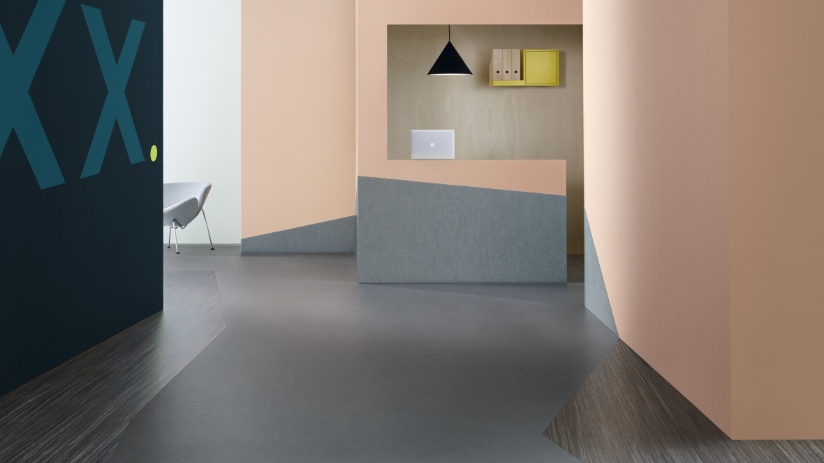 Forbo Flooring Systems Marmoleum Striato Original Linoleum Project Black Sheep 5237