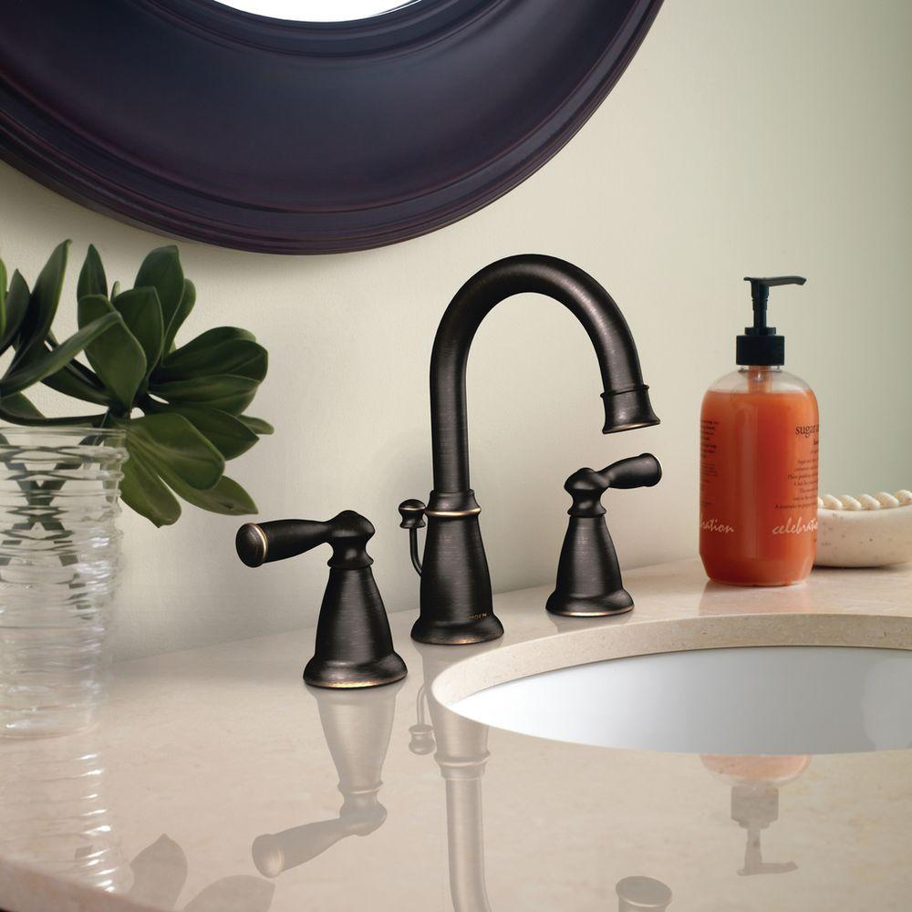 Moen - Banbury Mediterranean Bronze Two-Handle Bathroom Faucet Inspiration - WS84924BRB