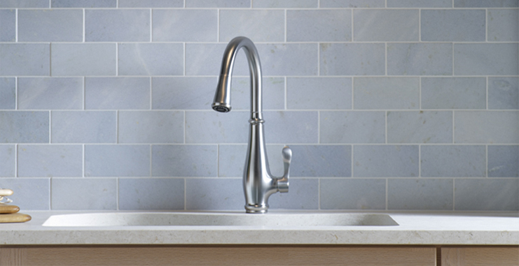 Kohler Cruette Pull Down Kitchen Sink Faucet Mirror